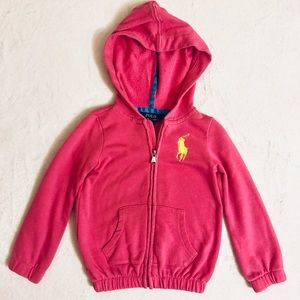 Pink Polo zip-up hoodie for toddler girl
